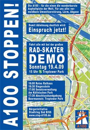 Plakat Große Fahrrad- und Skaterdemo A100 stoppen, Einspruch jetzt! am Sonntag, 19.04.2009