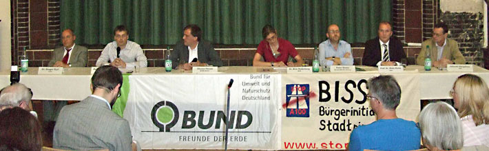 Kandidaten für die Bundestagswahl auf einer Veranstaltung von BISS und BUND am 2.9.2009
